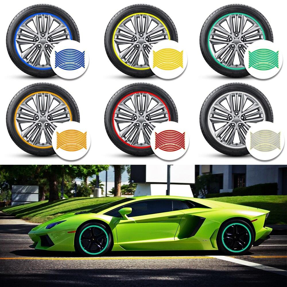 Tiras de pegatinas reflectantes para neumáticos de motocicleta, pegatinas de 14, 17 y 18 pulgadas, cinta reflectante de llanta, estilo de coche, 16 Uds.