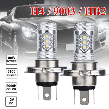 Car Headlight Bulbs fog light 2X H4 9003 HB2 Fog Light LED 80W Hi/Low Beam Driving Lamp White  Accessories
