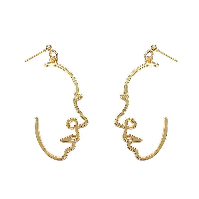 Vintage Abstracte Hollow Gezicht Palm Alloy Drop Oorbellen Voor Vrouwen Retro Goud Zilver Kleur Metal Picasso Stijl Dangle Earring A518