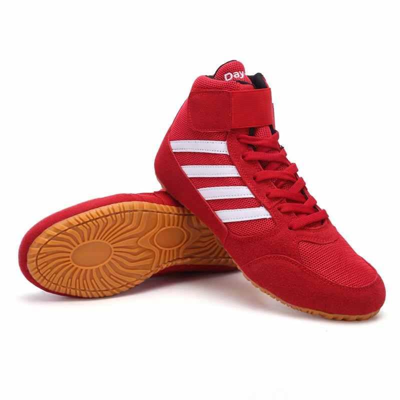 2020 nouveau professionnel chaussures de lutte bottes de combat pour hommes femmes enfants confortable chaussures de boxe noir rouge Sport baskets hommes