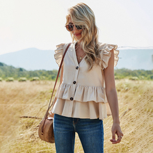 2021 Spring Solid Color Tiered Ruffle Peplum Top for Women Kawaii Ladies V Neck Button Up Sleeveless Cotton Shirt Plus Size