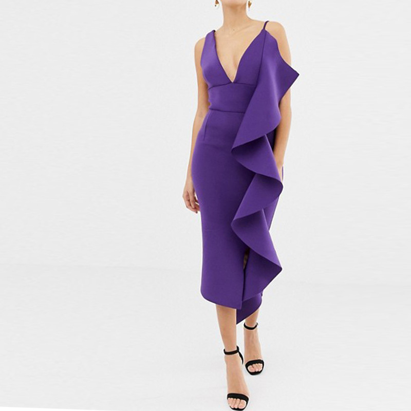 V Neck Purple   Cocktail     Dresses   Sheath Ruffles Sleeveless Real Sexy Party   Dress   Gown Plus Size With Stretch In Stock