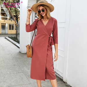 Image 3 - S. טעם נשים סתיו עיפרון שמלה אלגנטית Slim V צוואר תה לשבור Midi שמלה אדום צבע חורף עבודה שמלת עבור משרד ליידי