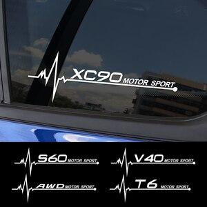 2PCS Auto Side Window Stickers For Volvo S60 XC90 V40 V50 V60 S90 V90 XC60 XC40 AWD T6 Captivating Vinyl Trim Decals Accessories(China)