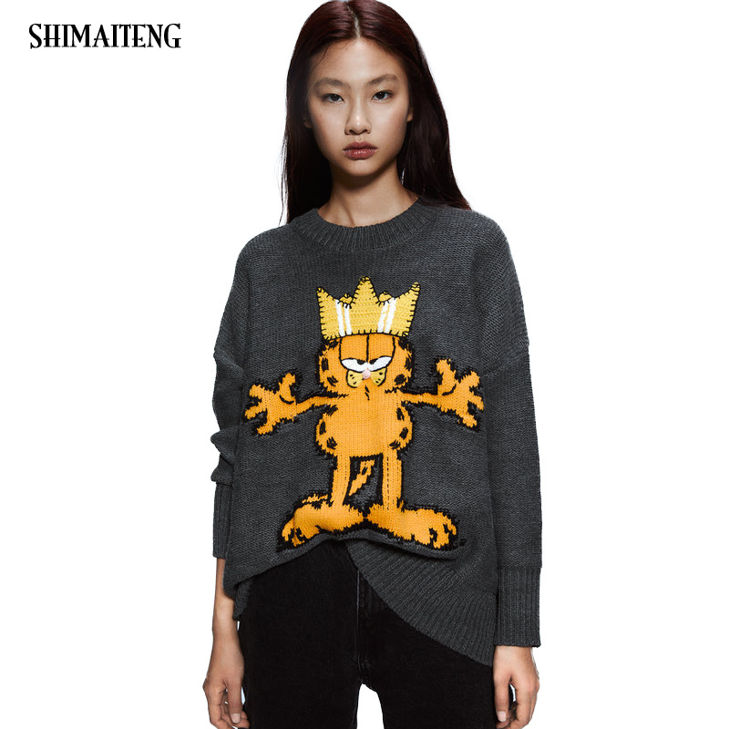 Garfield Thick Turtleneck Warm Women Sweater Fashion Loose Jumpers Knitting Pullovers Quantity Cartoon New Female Women Sweaters