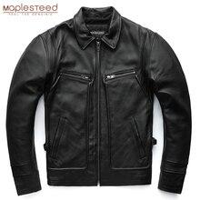 MAPLESTEED брендовая мужская кожаная куртка, 100% натуральная воловья кожа, винтажные красные коричневые кожаные куртки, мужское зимнее пальто с рукавом 62 68 см 5XL M100