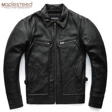MAPLESTEED Marke Männer Leder Jacke 100% Echtem Rindsleder Vintage Rot Braun Haut Jacken Männer Winter Mantel Hülse 62 68cm 5XL M100