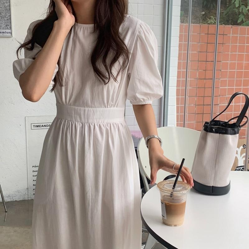 H772c8378ad3e4667b1e7c5cb4d97332fV - Summer O-Neck Short Sleeves Elastic-Waist Calf Length Solid Dress
