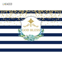 Laeacco Baby Shower Backdrops God Bless You Black White Stripes Golden Polka Dots Portrait Backgrounds Photocall Photo Studio