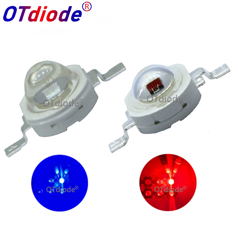 10PCS 3W Deep Red 660nm Royal Blue 445nm LED Chip Diode 90/120 Degree Lamp Grow Light For Plant Vegetable Fruit Growing Seeding