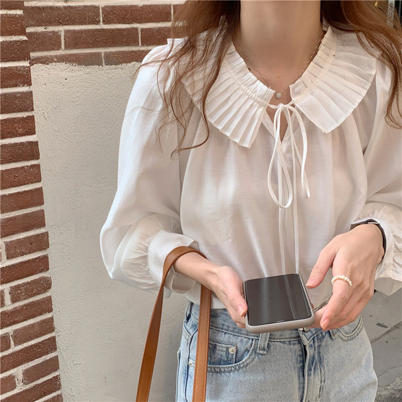 H772cbbd1064241df8da283f17c721ed6D - Spring / Autumn Lace-Up Collar Long Sleeves Loose Solid Blouse