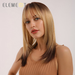 Element Synthetic Long Straight Dark Root Ombre Golden Blonde Wigs with Bangs for White/Black Women Heat Resistant Party Wigs