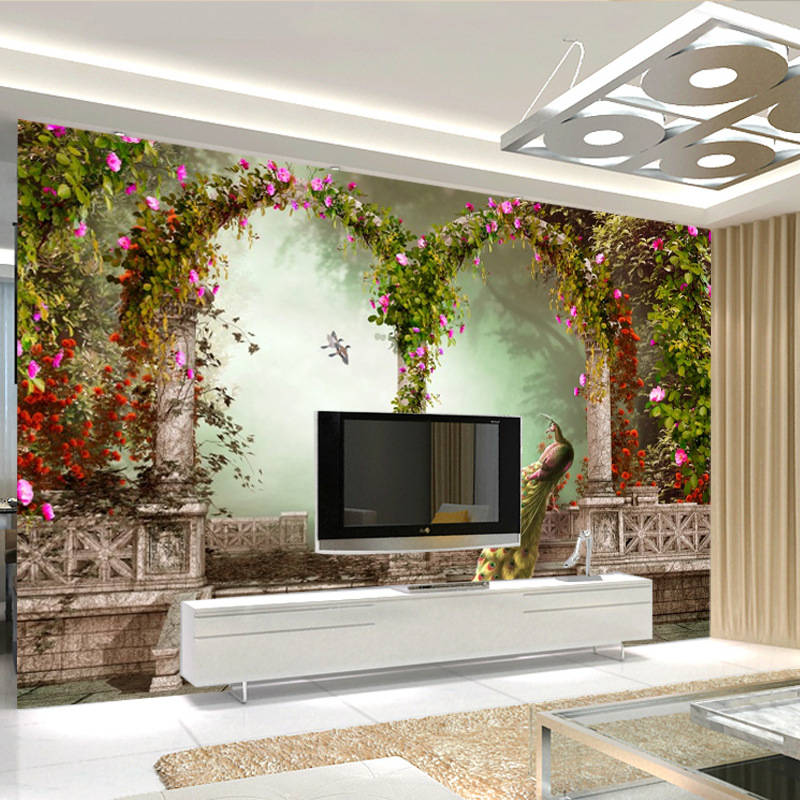 European Style 3D TV Background Wallpaper Sofa Bedroom Large Decoration Mural Peacock Wallpaper Seamless Wall Cloth
