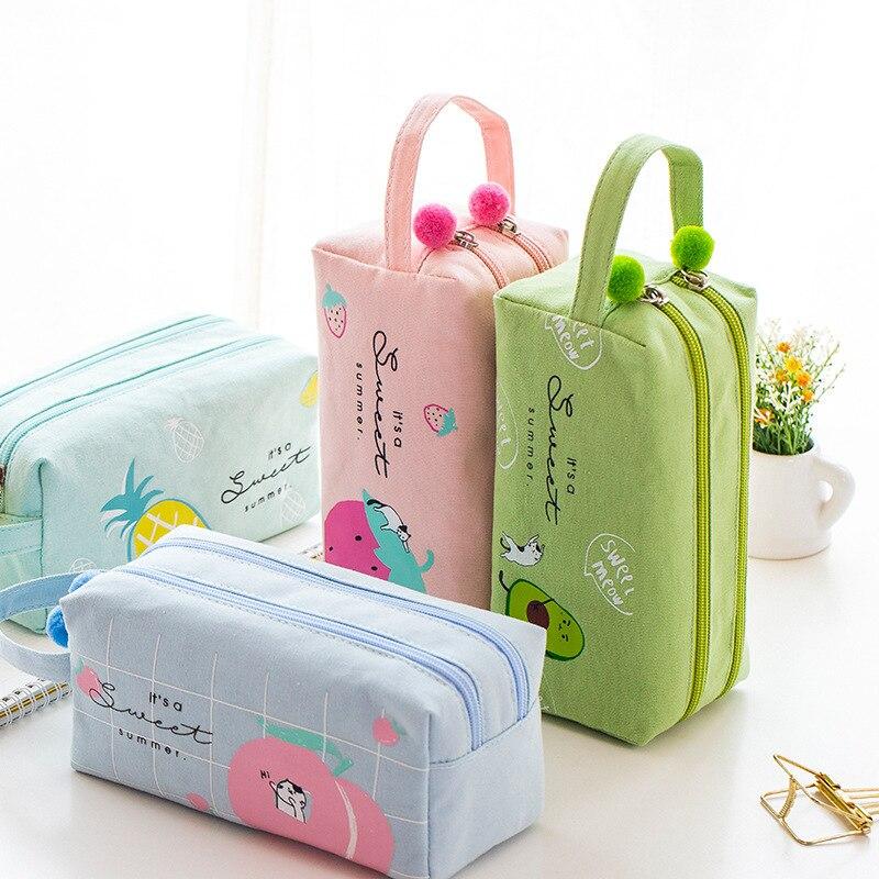 Korean School Pencil Case For Girls Boys Pencilcase Kawaii Fruit Pen Box Big Cartridge Bag Large 2 Zippers Penal Stationery Cute