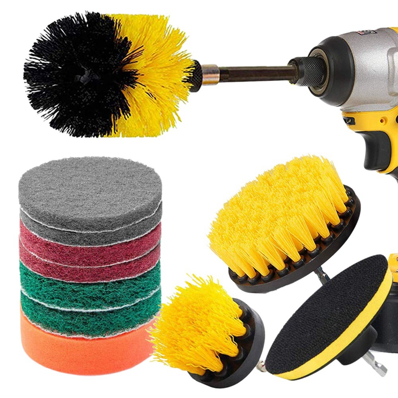 12 Piece Drill Brush Scrub Pads Power Scrubber Brush with Extended Long Attachment All Purpose Cleaner Scrubbing Cordless Drill Cleaning Brushes     - title=