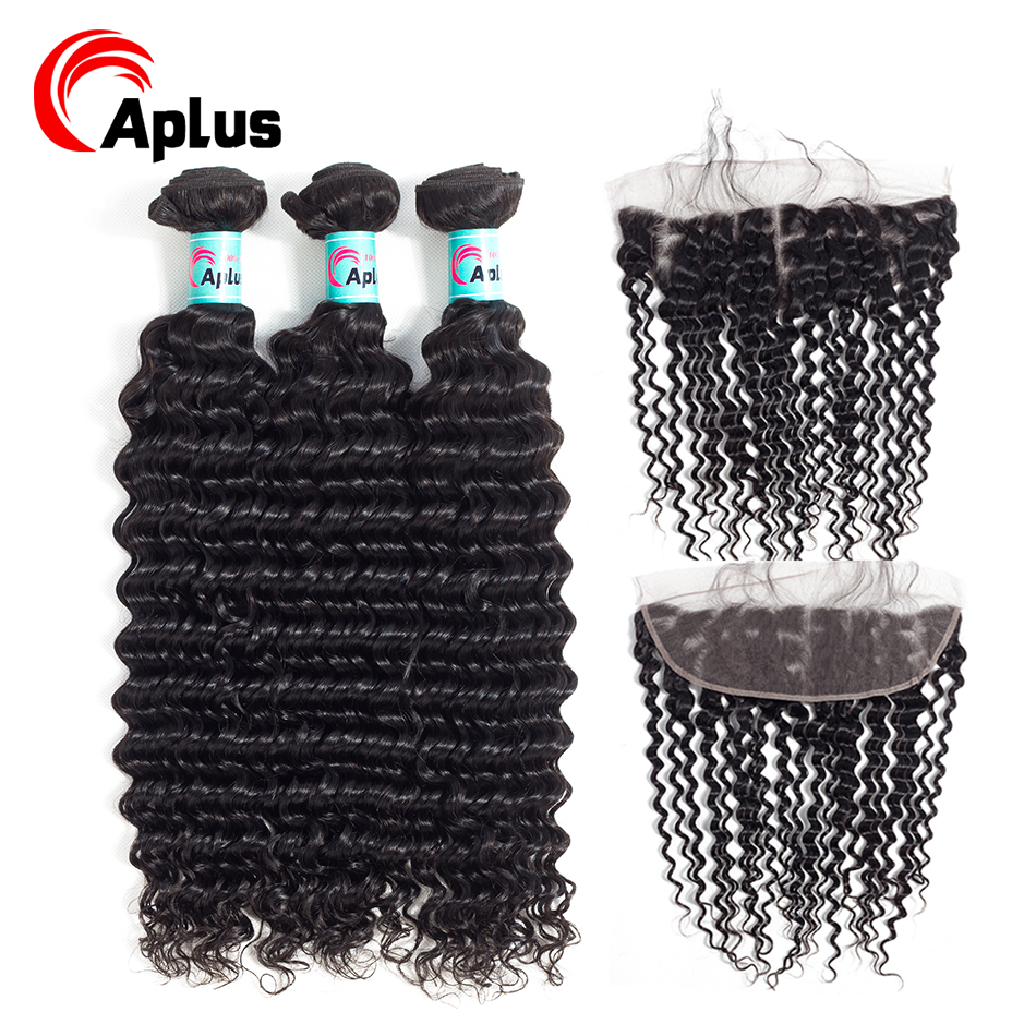 3 Bundles Brazilian Deep Wave Bundles With Frontal 100% Human Hair Bundles With 13*4 Ear To Ear Lace Closure Non Remy Hair Aplus