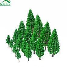 20 pces cenário verde paisagem modelo pouco cedro miniatura pinheiros modelo para trem ferroviário acessórios layout materiais árvore