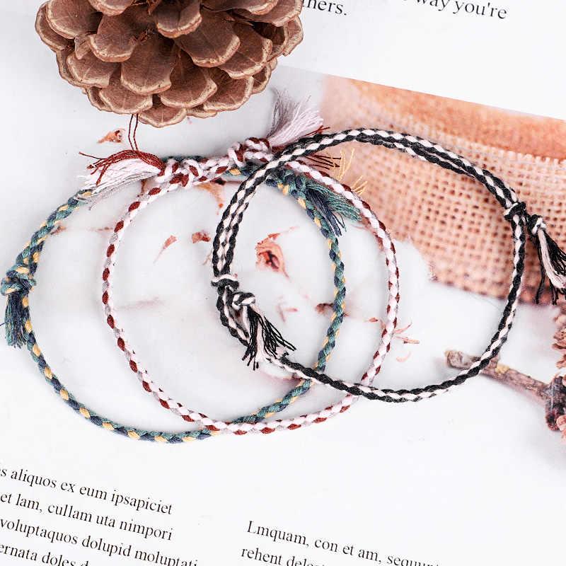 20 cores tibetano algodão corda borla pulseira tamanho ajustável pulseira para mulher jóias masculinas