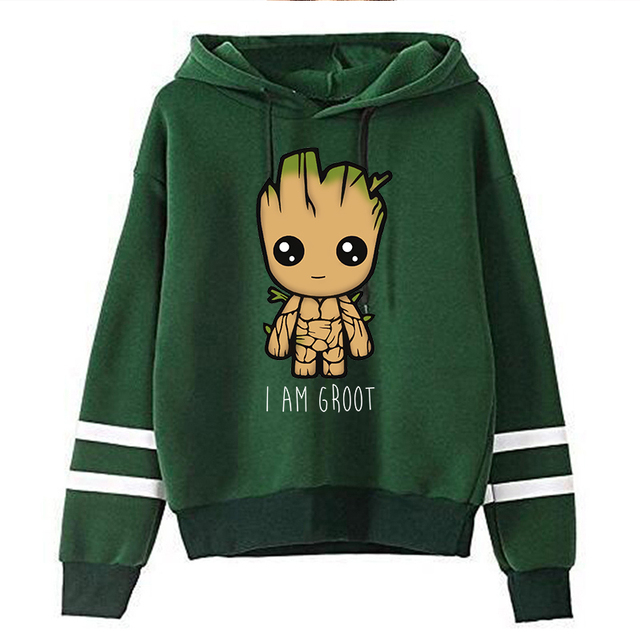 Spring Autumn Hoodies Harajuku Y2k Funny Cartoon Groot Printed Oversized Hoodies Women Streetwear Fashion Casual Sweatshirt 3