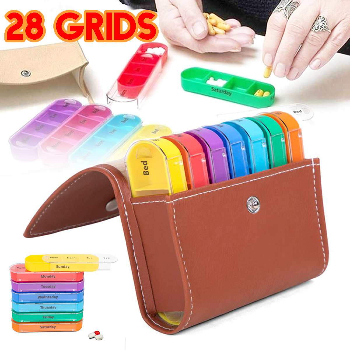 Portable 28 Grids Travel Weekly Pills Box Holder Medicine Tablet Organizer With PU Leather Storage Bag Dispenser 4 Times Per Day