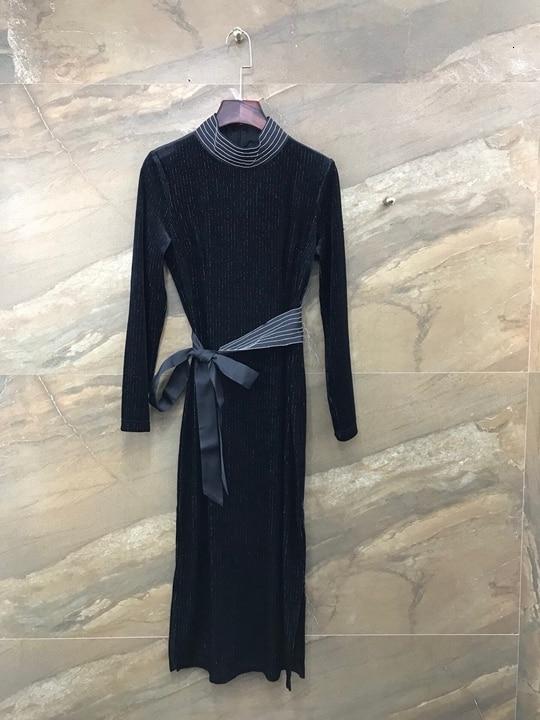 Otoño de 2019 de nueva ropa de mujer a rayas decorativos ronda corbata cintura longitud de la manga vestido de terciopelo de 1005