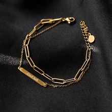 YUN RUO Vintage Yellow Gold Color Good Luck Double Chain Bracelet Woman Man Birthday Gift 316 L Titanium Steel Jewelry Not Fade titanium steel rose gold bracelet woman no fade concise mori personality hatch bracelet woman decorate abstract living
