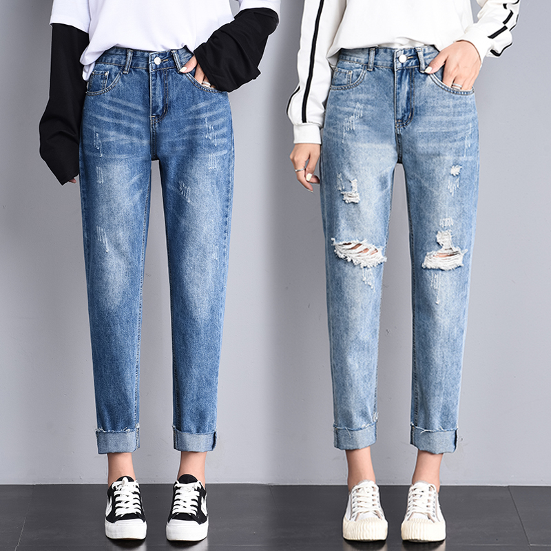 Jeans Woman Female Ankle Lenght Denim Pants High Waist Ripped Hole Stretch Blue Student Bleached  Straight-led Denim For Ladies