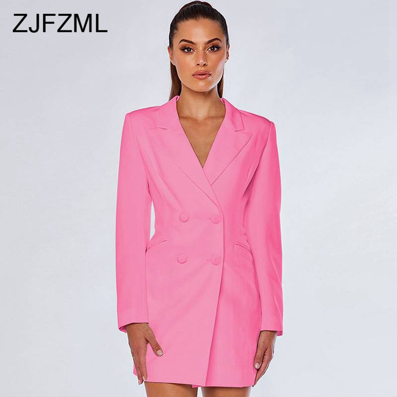 Solid Notched Long Female Blazers 2019 Women Fashion Long Sleeve Double Breasted Causal Coat Streetwear Slim Jacket Outerwear