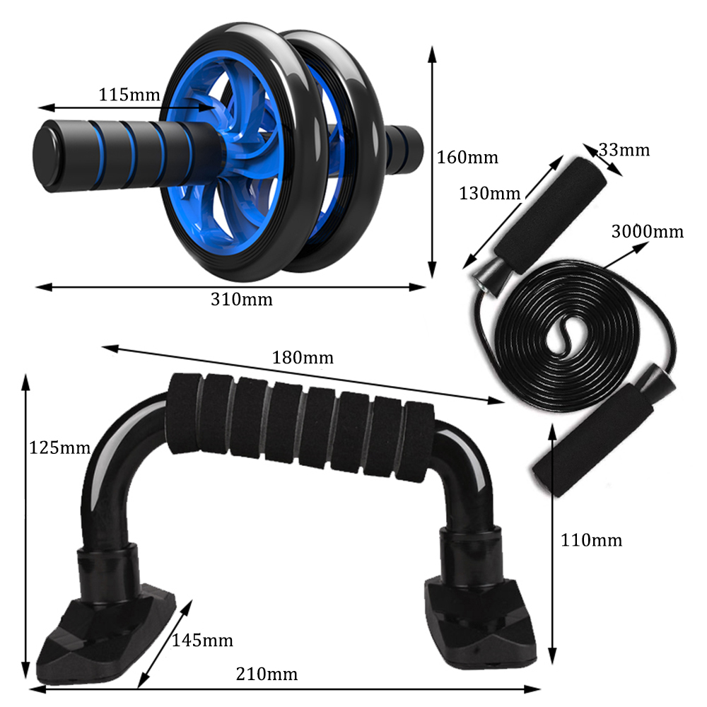 H772dc29c1572438a85de33cfd365d9372 - 5-in-1 AB Roller Kit Abdominal Press Wheel Pro with Push-UP Bar Jump Rope Knee Pad Gym Home Exercise  Fitness Equipment