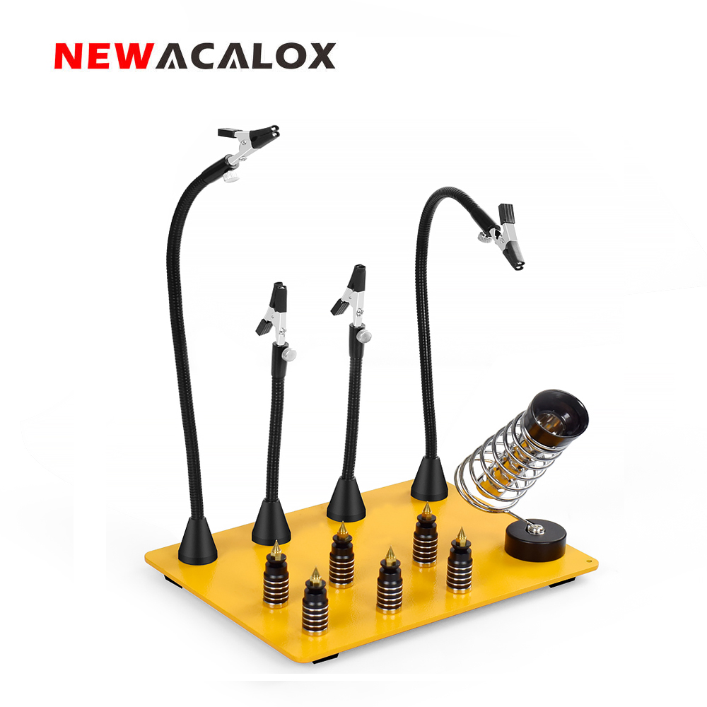 NEWACALOX Strong Magnetic Flexible Arm Third Helping Hand PCB Circuit Board Fixture Stand Soldering Iron Holder Welding Tools
