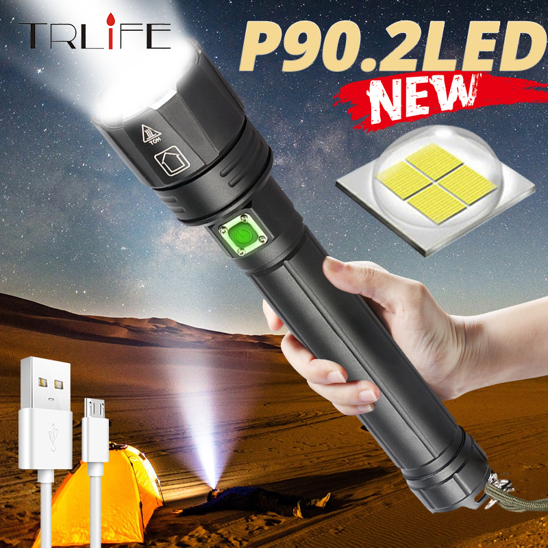 Super Bright XHP90.2 ไฟฉาย LED 2020 ใหม่ 26650 USB XHP70 XHP50 ยุทธวิธี 18650 ซูม Camp ไฟฉายกันน้ำ