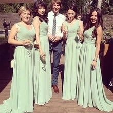 Chiffon Dress Bridesmaid-Dress Plus-Size Sleeveless New V-Neck A-Line