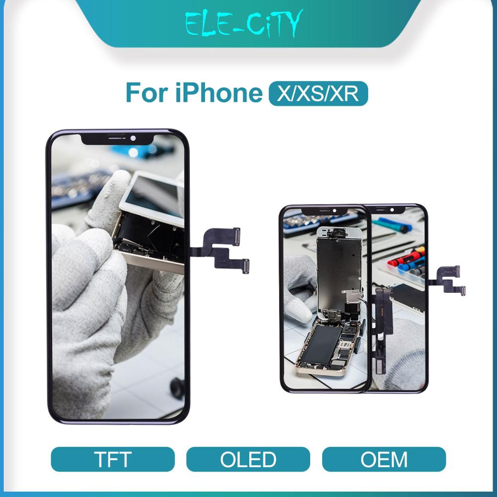 For iPhone X XR XS OEM LCD Touch Screen Flexible OLED Super AMOLED Display Digitizer Assembly Replacement Parts Black&White