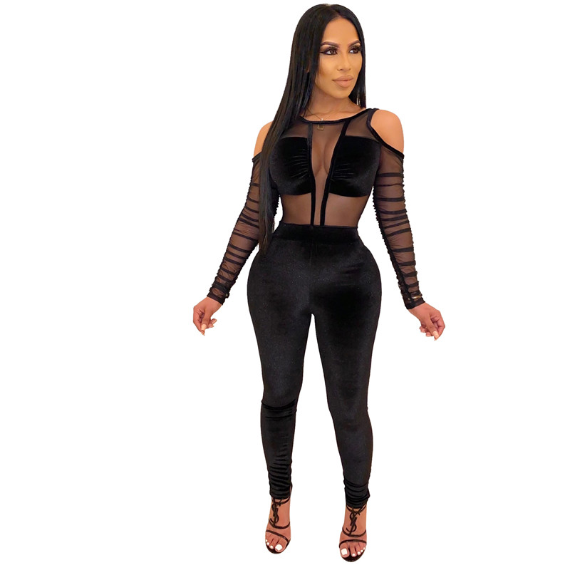 Adogirl Sheer Mesh Patchwork Velvet Jumpsuit Women Sexy Cold Shoulder Long Sleeve Skinny Romper Night Club Overalls Bodysuits Pants & Capris Women Bottom ! Plus Size Women's Clothing & Accessories