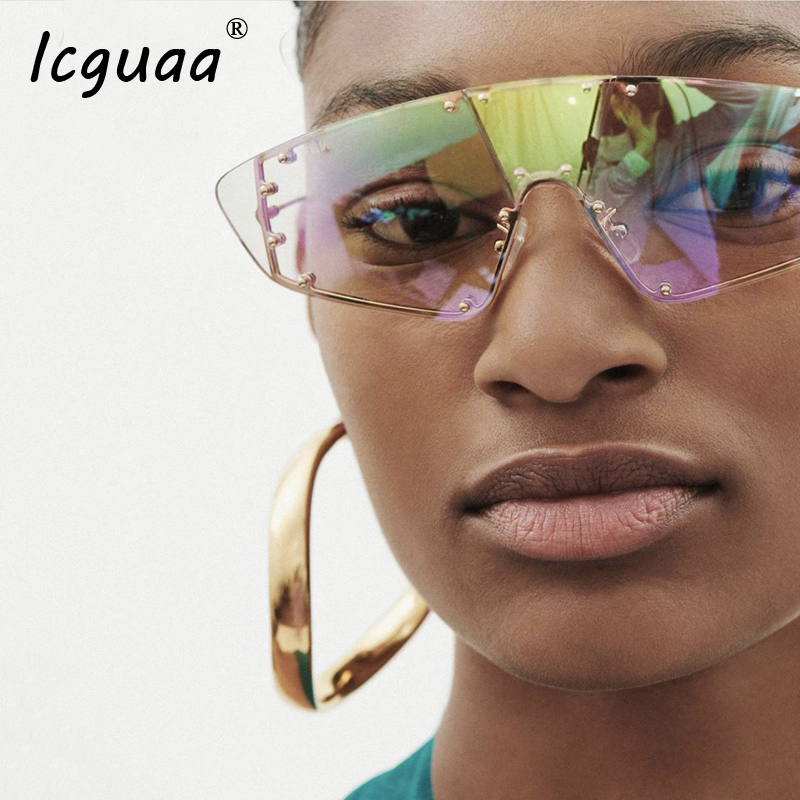 Oversized Rimless steampunk Sunglasses Women Vintage Luxury Brand Fashion Onepiece Men sunglasses women 2019 Gafas Glasses UV400