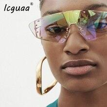 Oversized Rimless steampunk Sunglasses Women Vintage Luxury Brand Fashion Onepie
