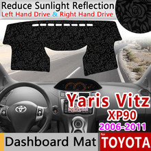 for Toyota Yaris Vitz 2006 2007 2008 2009 2010 2011 XP90 Anti-Slip Mat Rose Pattern Dashmat Dashboard Cover Pad Accessories Cape(China)