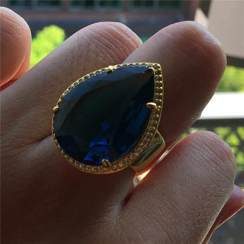 מדהים זכר נקבה גדול טיפת מים טבעת גברים נשים זהב צהוב חתונה להקת טבעת יוקרה כחול סגול זירקון אירוסין טבעת