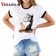 Women 3D Print T Shirts Owl Fox Tree Fashion Female T-shirt Summer White Casual Couple Short Sleeve Tops graphic t shirts