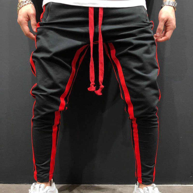 HOT 2020 outdoor sport men casual training Jogger hip hop studenci streetwear patchwork luźna nogawka spodnie z zamkiem spodnie męskie