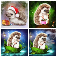 Huacan 5D DIY Diamond Painting Hedgehog  Full Square/Round Diamond Embroidery Mosaic Animal Decorations Home