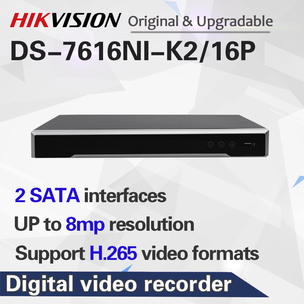 In stock International version DS-7616NI-K2/16P 16ch H.265 NVR 4K for up to 8MP cameras plug & play NVR 2 SATA 16 POE