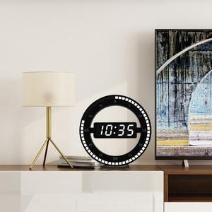 Image 5 - LED Digital Wall Clock Modern Design Dual Use Dimming Digital Circular Photoreceptive Clocks For Home Decoration US EU PLUG
