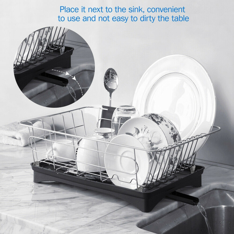Dreamburgh Stainless Steel Dish Drainer Drying Rack Bowl Organizer Utensil Holder Drainer For Kitchen Counter Storage Racks