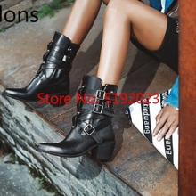 Hot Sale Buckle Boots Women Shoes Retro Pointed Toe Rome Lad