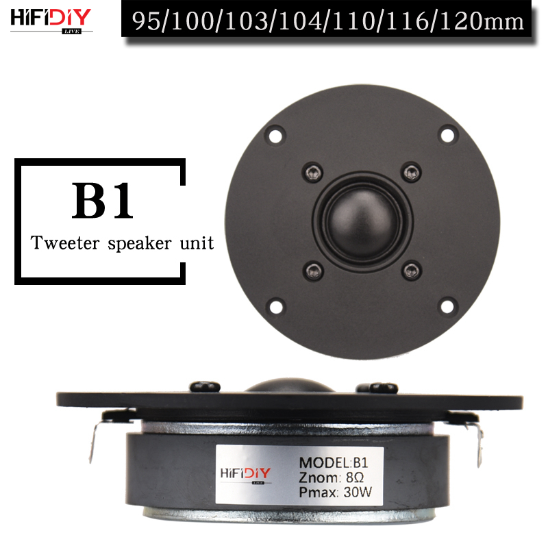 HIFIDIY LIVE 4~4.5 Inch Tweeter Speaker Unit Black Silk Membrane 4/8OHM 30W ATreble Loudspeaker B1-95/100/103/104/108/110/116mm