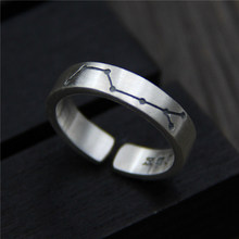 цена на Silver Ring Real S999 Jewellery Big Dipper Ring For Women Romantic Wedding Jewelry Opening Adjustable Silver Rings