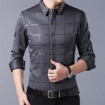 Men Shirt Long Sleeve Top Plaid Blouse Casual Shirts Summer Autumn Business Clothes camisa masculina