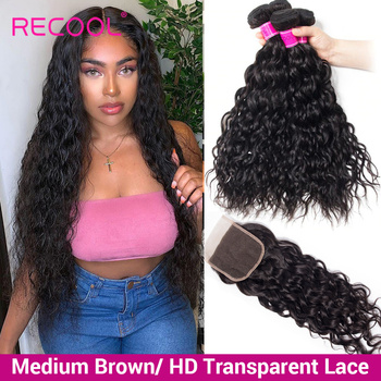 Recool Water Wave Bundles With Closure Hd Transparent Lace Closure Brazilian Hair Weave Bundles Human Hair Bundles With Closure