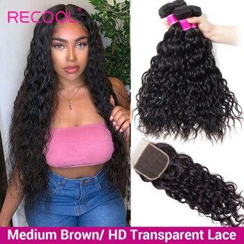 Recool onda de água pacotes com fechamento hd transparente fechamento do laço pacotes tecer cabelo brasileiro feixes cabelo humano com fechamento